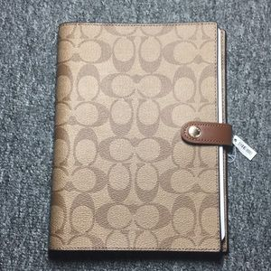 Authentic Coach Signature Coated Canvas notebook